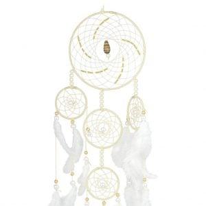 White & Golden – Spiral 5 Ring Dream Catcher