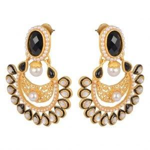 Kundan Pearl – Dull Gold Earrings