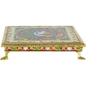 Vincraft Wood Pooja Chowki (25 cm x 25 cm x 5 cm)