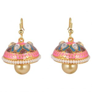 Meenakari Pearl Jhumki Earrings