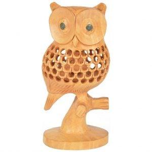 Vincraft Wood Owl Figurine (6 cm x 5 cm x 13 cm, Brown)