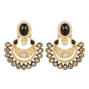 [tag] Kundan Pearl – Dull Gold Earrings