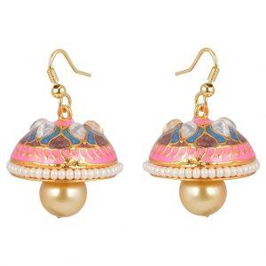 Meenakari Pearl Jhumki Earrings