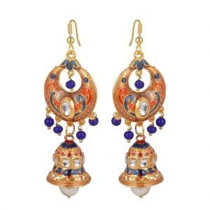 Meenakari Pearl – Jhumki Dangler Earrings
