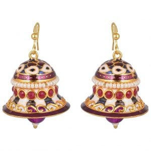 Meenakari Pearl – Bell Jhumki Earrings