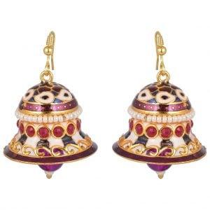 Meenakari Pearl – Bell Jhumki Earrings