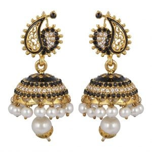 Black & Golden –  Pearl Jhumki Earrings