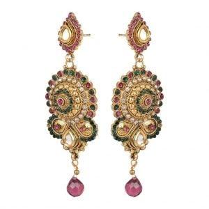 Long – Golden Kundan Earrings