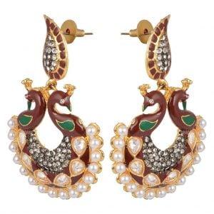Maroon Peacock – Pearl Earrings