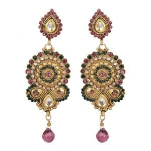 [tag] Long – Golden Kundan Earrings