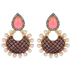[tag] Coral Pearl Earrings