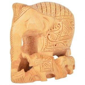 Vincraft Wood Elephant Figurine (7 cm x 5 cm x 6 cm, Brown)