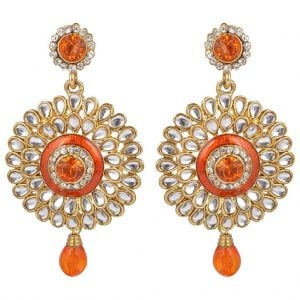 Orange Kundan Earrings