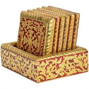 Vincraft Wooden Coaster Set, Set of 7