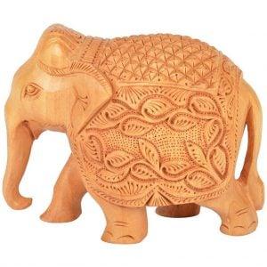 Vincraft Wood Elephant Figurine (13 cm x 8 cm x 10 cm, Brown, Set of 2)