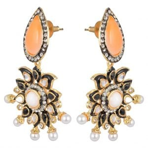 [tag] Kundan – Pearl Orange Earrings