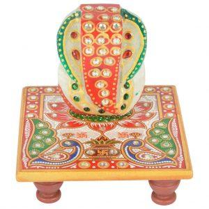 Vincraft Marble Chowki Ganesh Idol (10 cm x 10 cm x 9 cm, Set of 2)