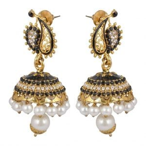Black & Golden –  Pearl Jhumki Earrings