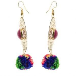 Colourful Pom Pom Earrings