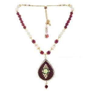 Ethnic Maroon Bead Necklace