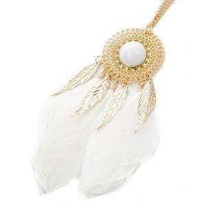 Gold & White Dreamcatcher Necklace