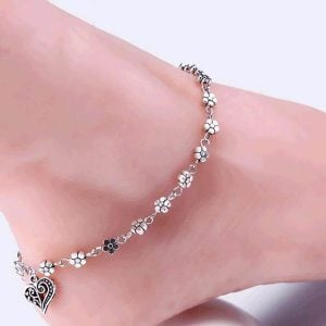 Silver Floral Anklet