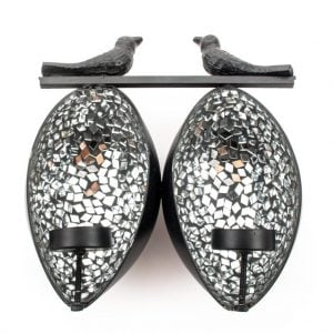 Mosiac Mirror Print Candle Holder – Double