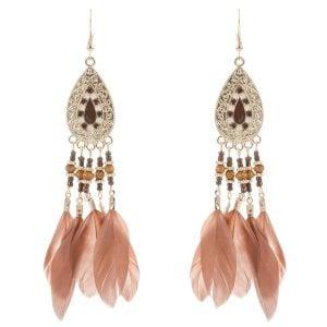Nude Feather Earrings