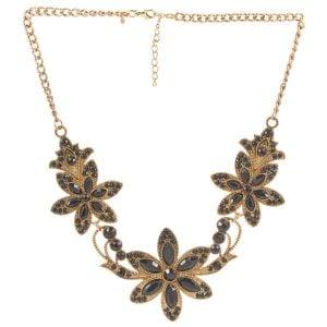 Floral Black & Gold Necklace