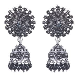Oxidized Silver Earring