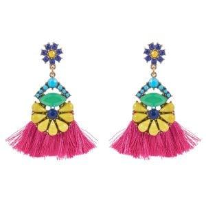 Pink Tassel Pom Pom Earrings for Women