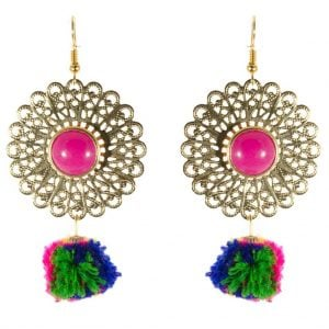 Colourful Pom Pom Earrings