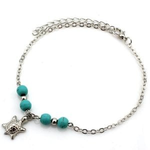 Simple Silver Tortoise Anklet