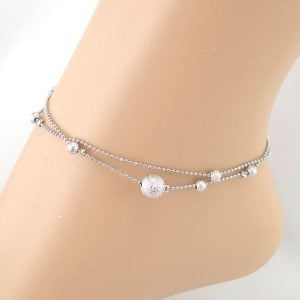 Simple Silver Double Layer Anklet
