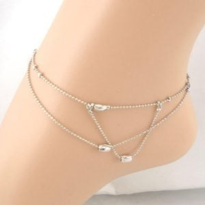 Unique Double layer Silver Anklet