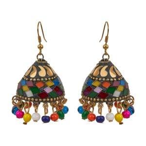 Casual Jewellery Colourful Mosiac Jhumki