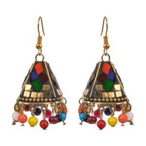 Bohemian Jewellery Colourful  Cone Shaped Jhumki