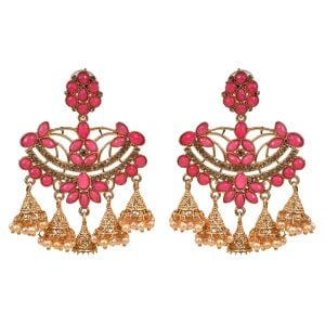 Ethnic Earrings Pink & Gold Jhumki